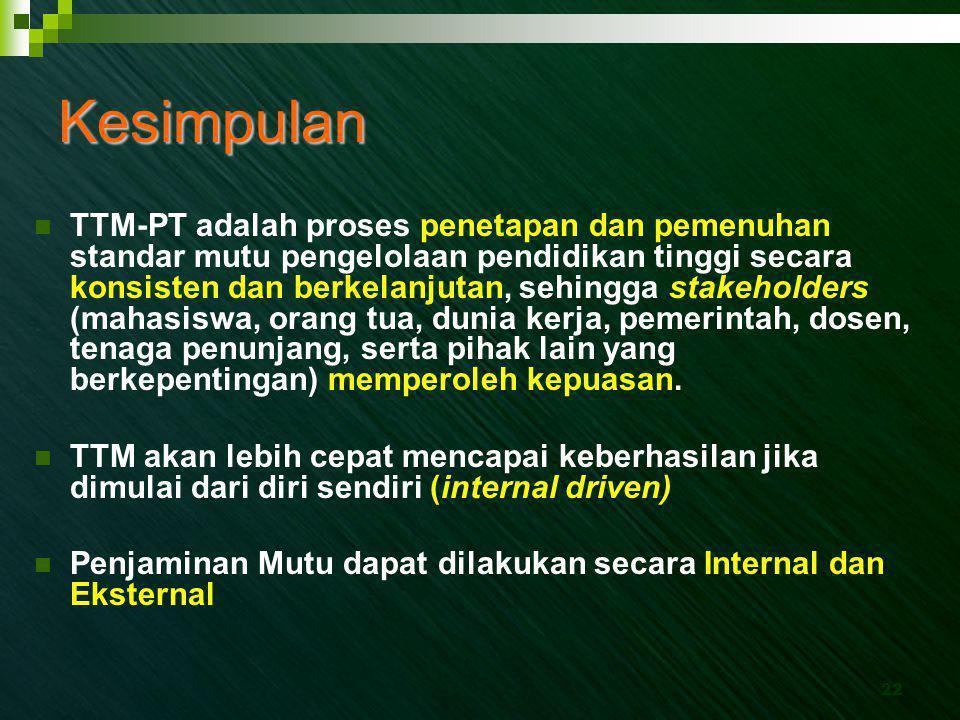 22 Kesimpulan  TTM-PT adalah proses penetapan dan pemenuhan standar mutu pengelolaan pendidikan tinggi secara konsisten dan berkelanjutan, sehingga s