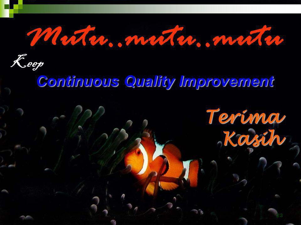 23 Continuous Quality Improvement Mutu..mutu..mutu Continuous Quality Improvement Terima Kasih Keep