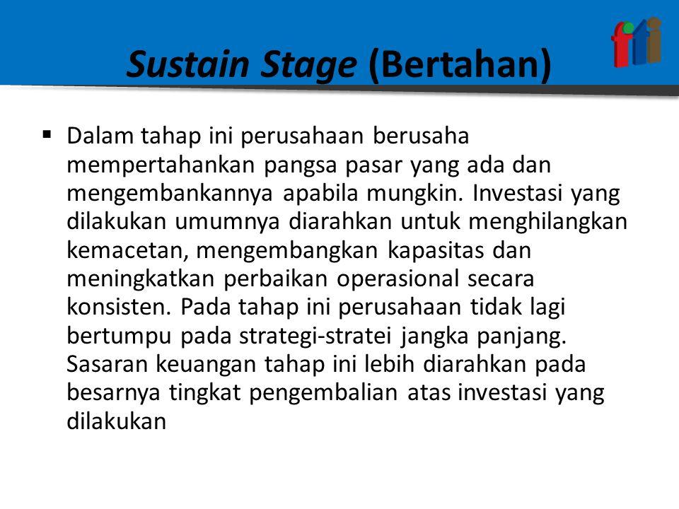 Sustain Stage (Bertahan)  Dalam tahap ini perusahaan berusaha mempertahankan pangsa pasar yang ada dan mengembankannya apabila mungkin.