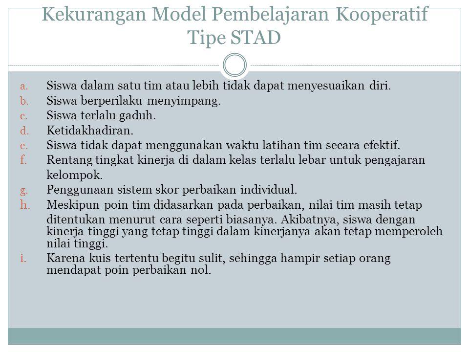 Kekurangan Model Pembelajaran Kooperatif Tipe STAD a.