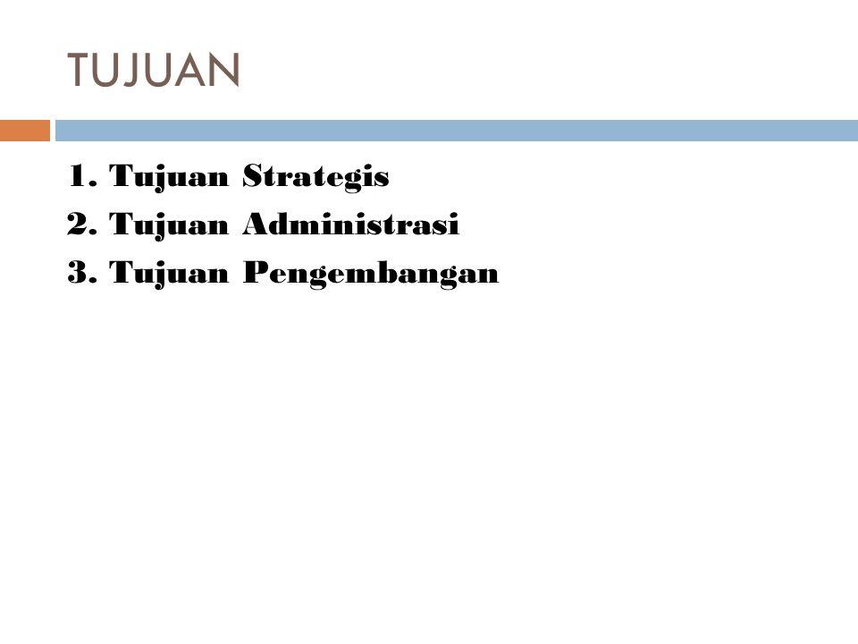 TUJUAN 1. Tujuan Strategis 2. Tujuan Administrasi 3. Tujuan Pengembangan