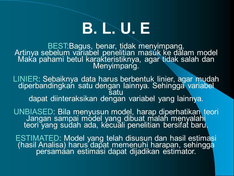 B.L. U. E BEST:Bagus, benar, tidak menyimpang.
