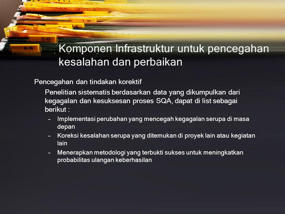 Komponen Infrastruktur untuk pencegahan kesalahan dan perbaikan Pencegahan dan tindakan korektif Penelitian sistematis berdasarkan data yang dikumpulk