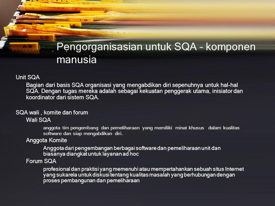 Pengorganisasian untuk SQA – komponen manusia Unit SQA Bagian dari basis SQA organisasi yang mengabdikan diri sepenuhnya untuk hal-hal SQA.