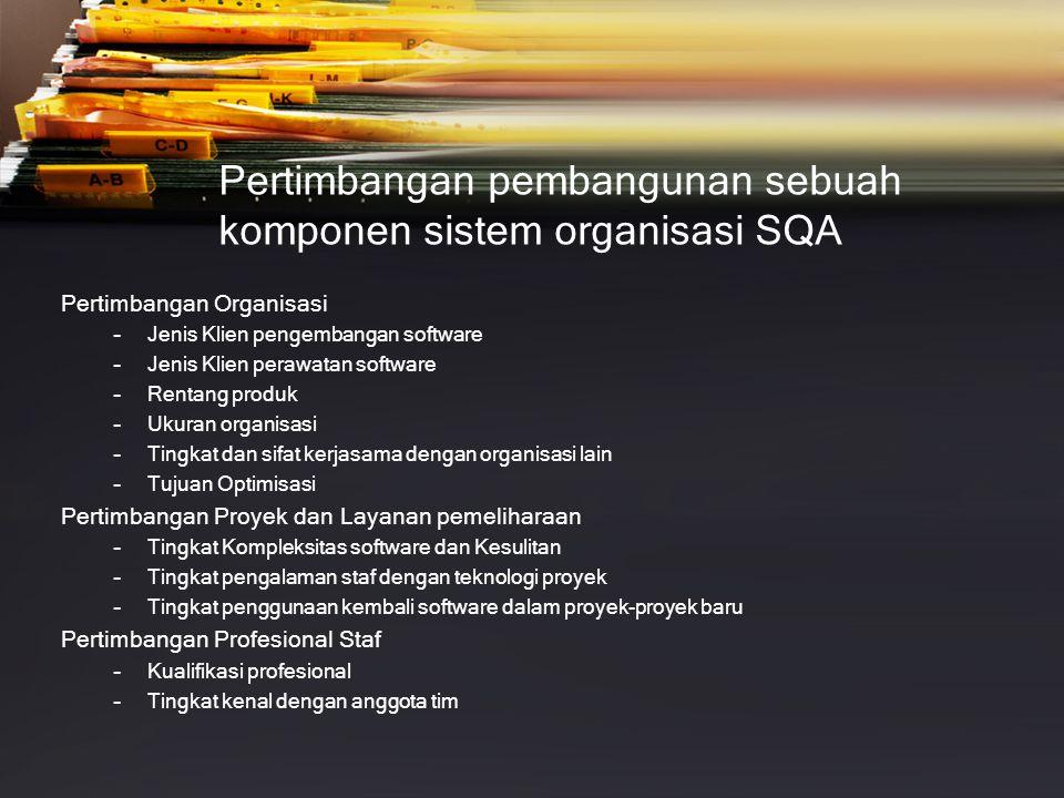 Pertimbangan pembangunan sebuah komponen sistem organisasi SQA Pertimbangan Organisasi –Jenis Klien pengembangan software –Jenis Klien perawatan softw