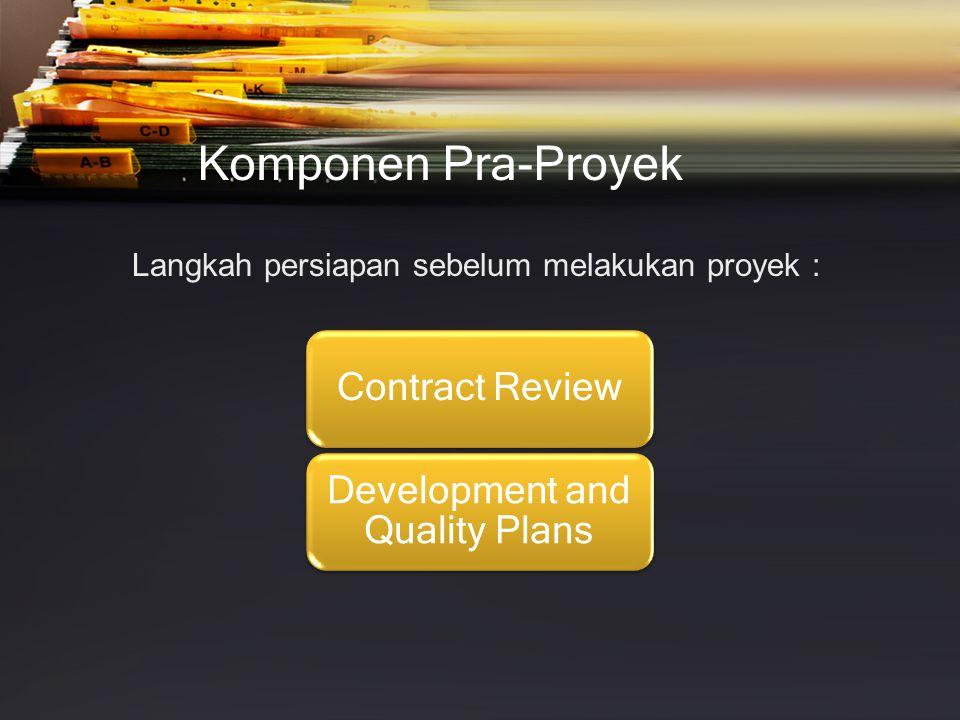 Komponen Pra-Proyek Review Kontrak Kegiatan •Klarifikasi kebutuhan pelanggan •Review jadwal proyek dan perkiraan kebutuhan sumber daya •Evaluasi kapasitas staf profesional untuk melaksanakan proyek •Evaluasi kapasitas pelanggan untuk memenuhi kewajibannya •Evaluasi risiko pengembangan.