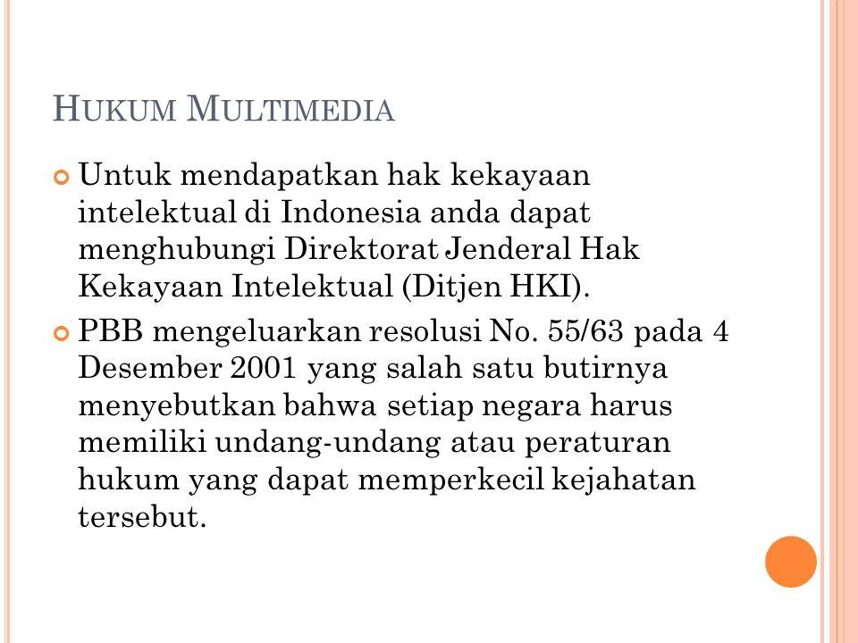 H UKUM M ULTIMEDIA Untuk mendapatkan hak kekayaan intelektual di Indonesia anda dapat menghubungi Direktorat Jenderal Hak Kekayaan Intelektual (Ditjen