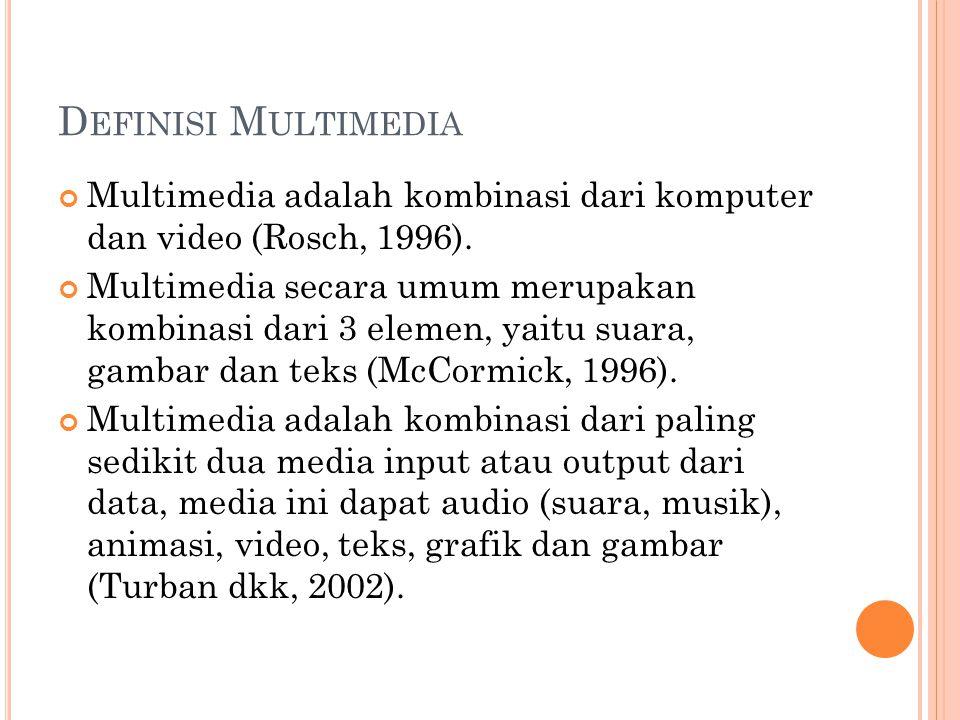 D EFINISI M ULTIMEDIA Multimedia adalah kombinasi dari komputer dan video (Rosch, 1996). Multimedia secara umum merupakan kombinasi dari 3 elemen, yai