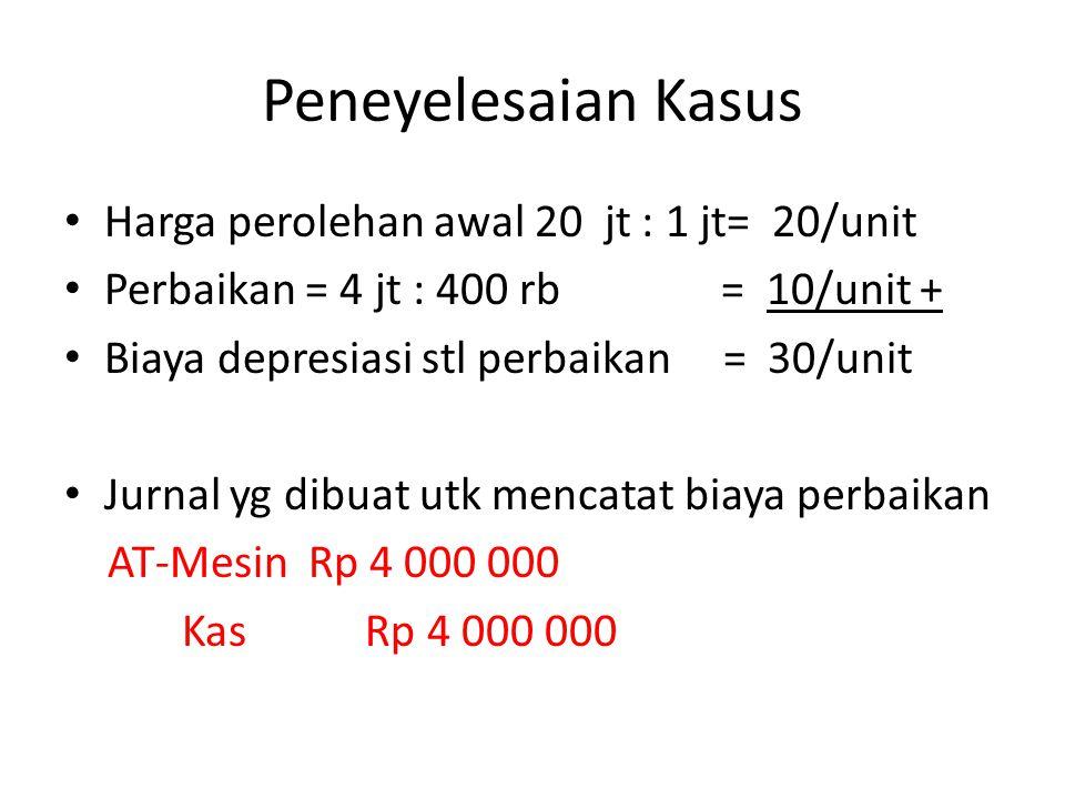 Peneyelesaian Kasus • Harga perolehan awal 20 jt : 1 jt= 20/unit • Perbaikan = 4 jt : 400 rb = 10/unit + • Biaya depresiasi stl perbaikan = 30/unit •
