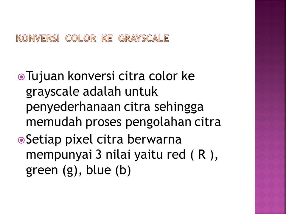  Tujuan konversi citra color ke grayscale adalah untuk penyederhanaan citra sehingga memudah proses pengolahan citra  Setiap pixel citra berwarna me