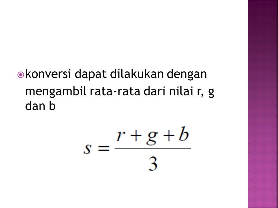  konversi dapat dilakukan dengan mengambil rata-rata dari nilai r, g dan b