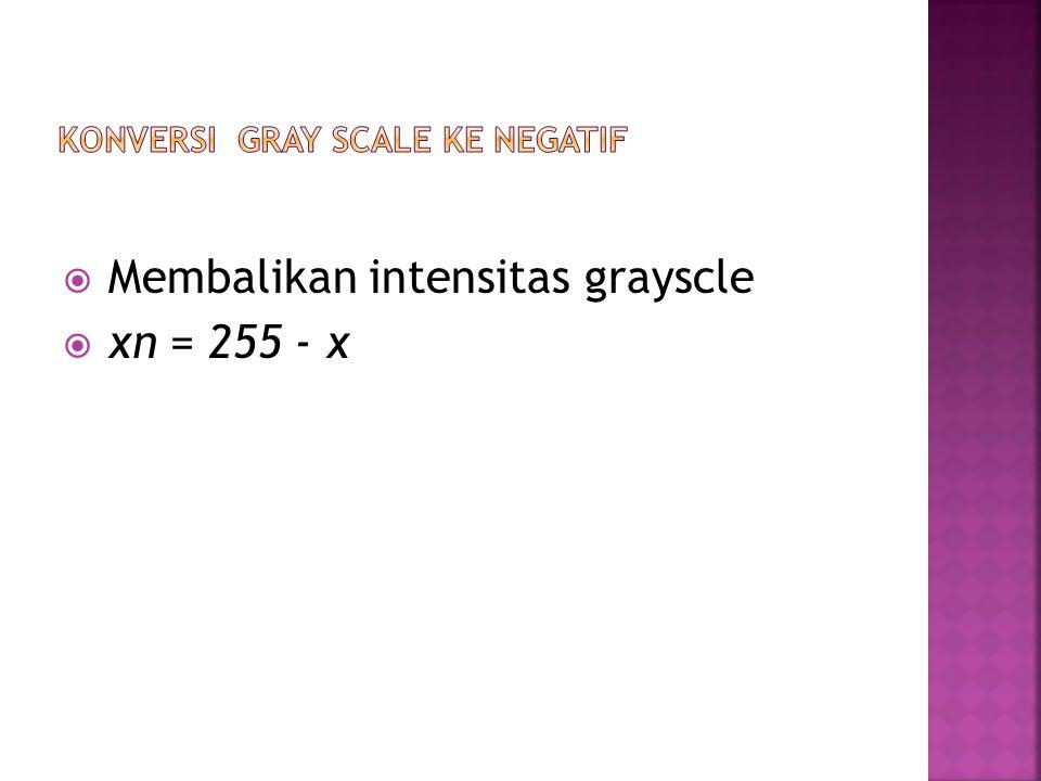  Membalikan intensitas grayscle  xn = 255 - x