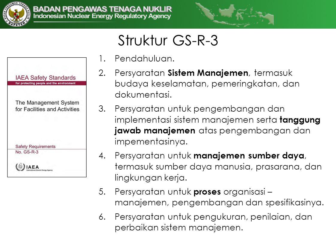 Struktur GS-R-3 1.Pendahuluan. 2.Persyaratan Sistem Manajemen, termasuk budaya keselamatan, pemeringkatan, dan dokumentasi. 3.Persyaratan untuk pengem