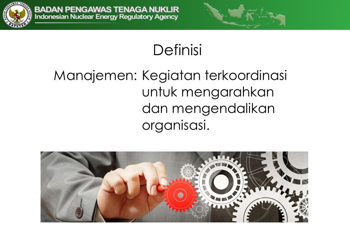 Definisi Manajemen: Kegiatan terkoordinasi untuk mengarahkan dan mengendalikan organisasi.