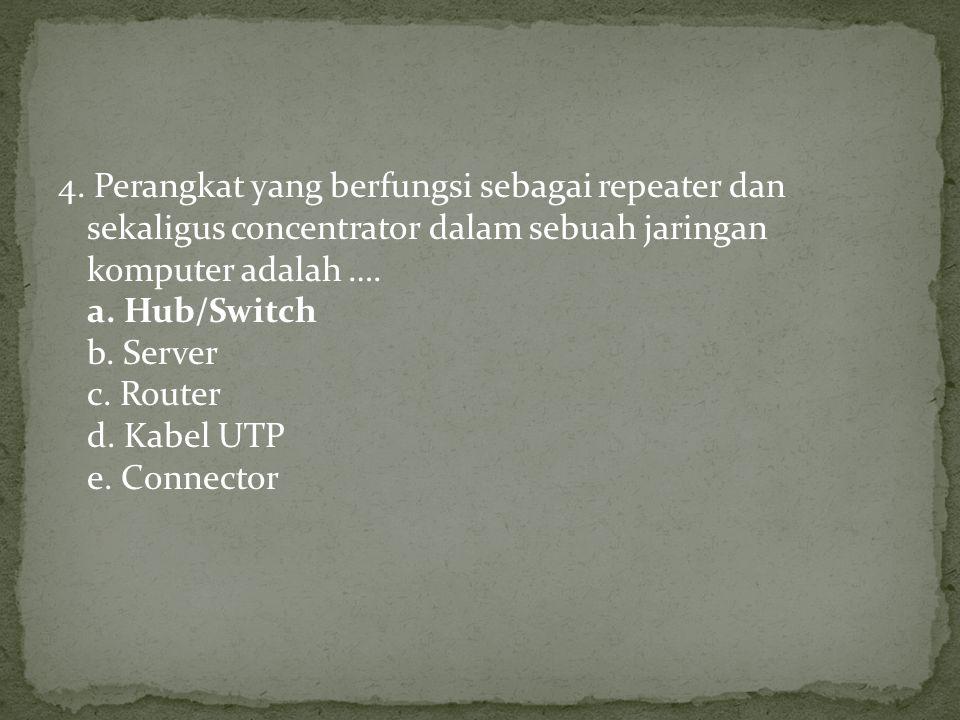 4. Perangkat yang berfungsi sebagai repeater dan sekaligus concentrator dalam sebuah jaringan komputer adalah …. a. Hub/Switch b. Server c. Router d.