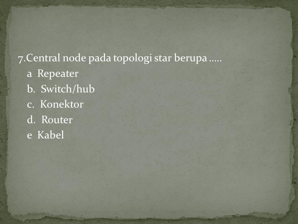 7.Central node pada topologi star berupa ….. a Repeater b. Switch/hub c. Konektor d. Router e Kabel