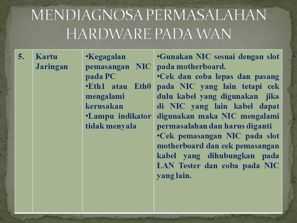 5.Kartu Jaringan •Kegagalan pemasangan NIC pada PC •Eth1 atau Eth0 mengalami kerusakan •Lampu indikator tidak menyala •Gunakan NIC sesuai dengan slot pada motherboard.