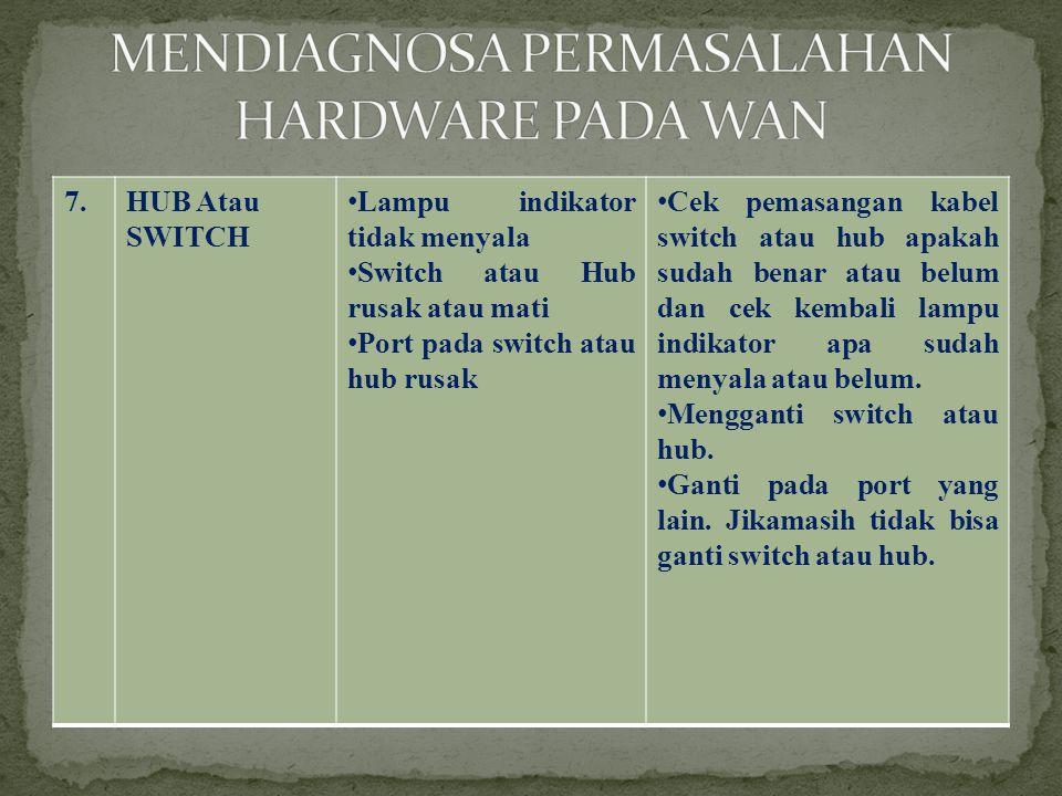7.HUB Atau SWITCH •Lampu indikator tidak menyala •Switch atau Hub rusak atau mati •Port pada switch atau hub rusak •Cek pemasangan kabel switch atau hub apakah sudah benar atau belum dan cek kembali lampu indikator apa sudah menyala atau belum.