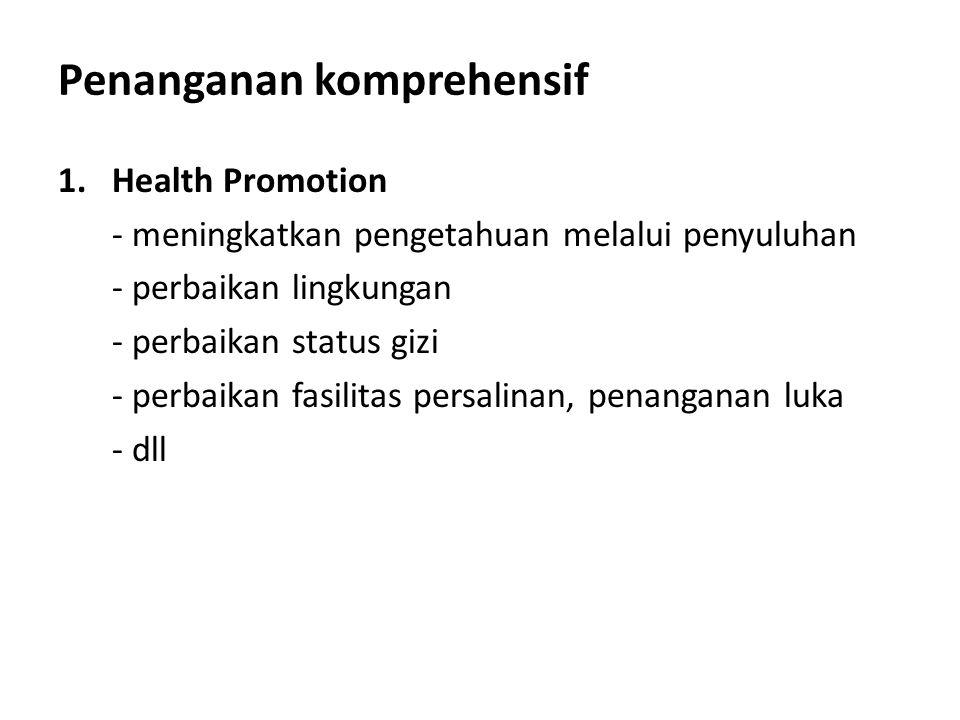 Penanganan komprehensif 1.Health Promotion - meningkatkan pengetahuan melalui penyuluhan - perbaikan lingkungan - perbaikan status gizi - perbaikan fa