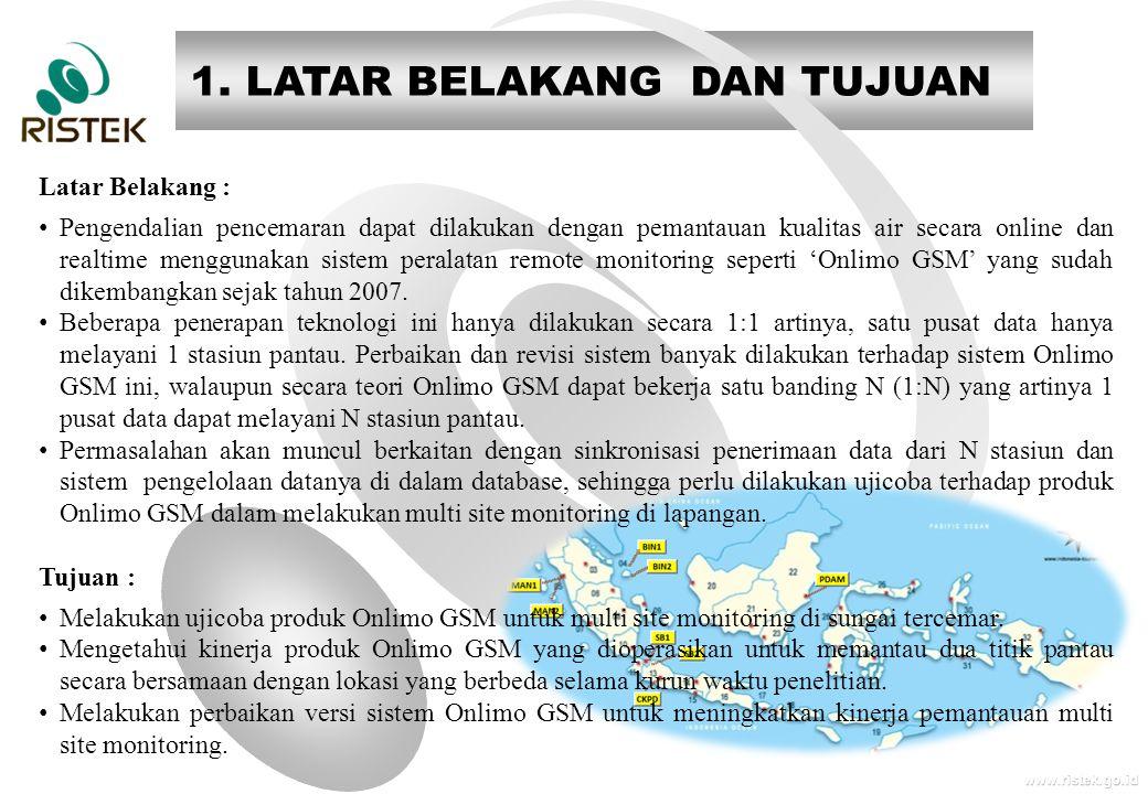 www.ristek.go.id 1. LATAR BELAKANG DAN TUJUAN Latar Belakang : • Pengendalian pencemaran dapat dilakukan dengan pemantauan kualitas air secara online