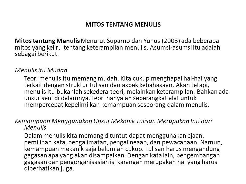 MITOS TENTANG MENULIS Mitos tentang Menulis Menurut Suparno dan Yunus (2003) ada beberapa mitos yang keliru tentang keterampilan menulis. Asumsi-asums