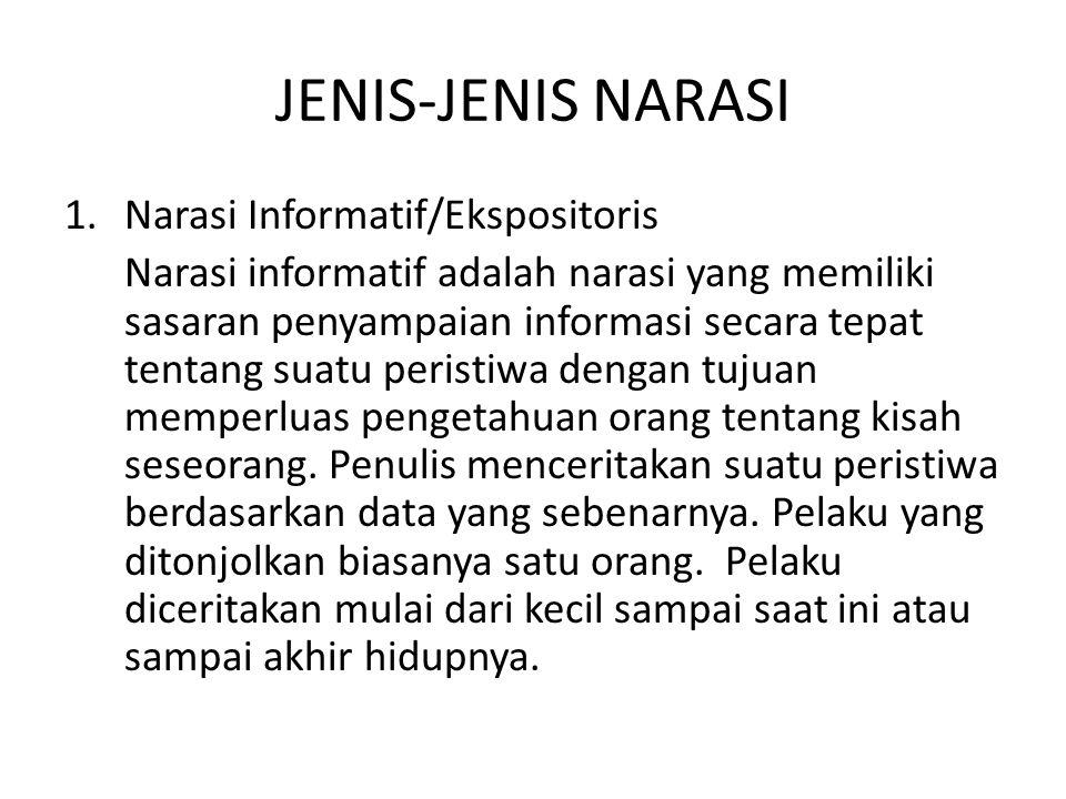 JENIS-JENIS NARASI 1.Narasi Informatif/Ekspositoris Narasi informatif adalah narasi yang memiliki sasaran penyampaian informasi secara tepat tentang s