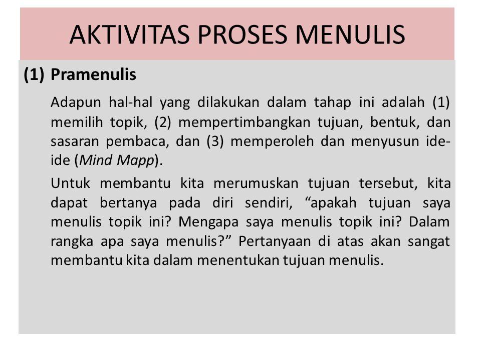 AKTIVITAS PROSES MENULIS (1)Pramenulis Adapun hal-hal yang dilakukan dalam tahap ini adalah (1) memilih topik, (2) mempertimbangkan tujuan, bentuk, da