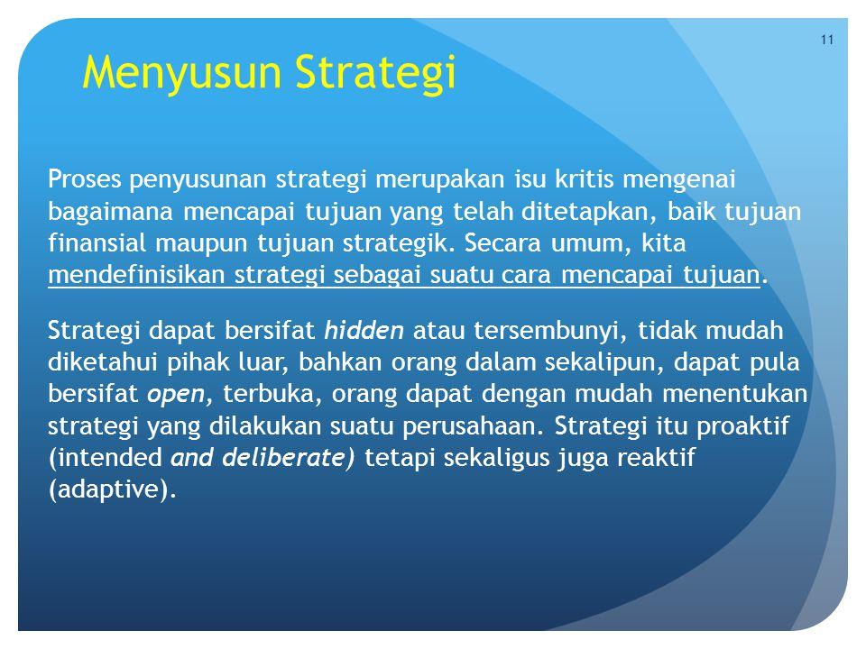 Menyusun Strategi Proses penyusunan strategi merupakan isu kritis mengenai bagaimana mencapai tujuan yang telah ditetapkan, baik tujuan finansial maup