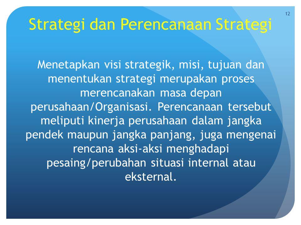 Strategi dan Perencanaan Strategi Menetapkan visi strategik, misi, tujuan dan menentukan strategi merupakan proses merencanakan masa depan perusahaan/