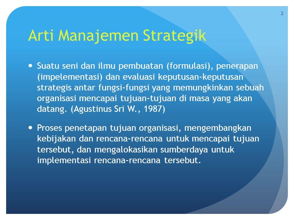 Arti Manajemen Strategik  Suatu seni dan ilmu pembuatan (formulasi), penerapan (impelementasi) dan evaluasi keputusan-keputusan strategis antar fungs