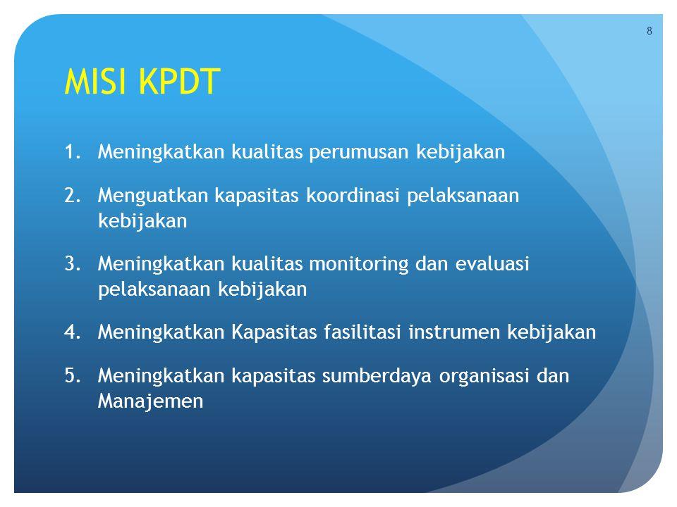MISI KPDT 1.Meningkatkan kualitas perumusan kebijakan 2.Menguatkan kapasitas koordinasi pelaksanaan kebijakan 3.Meningkatkan kualitas monitoring dan e