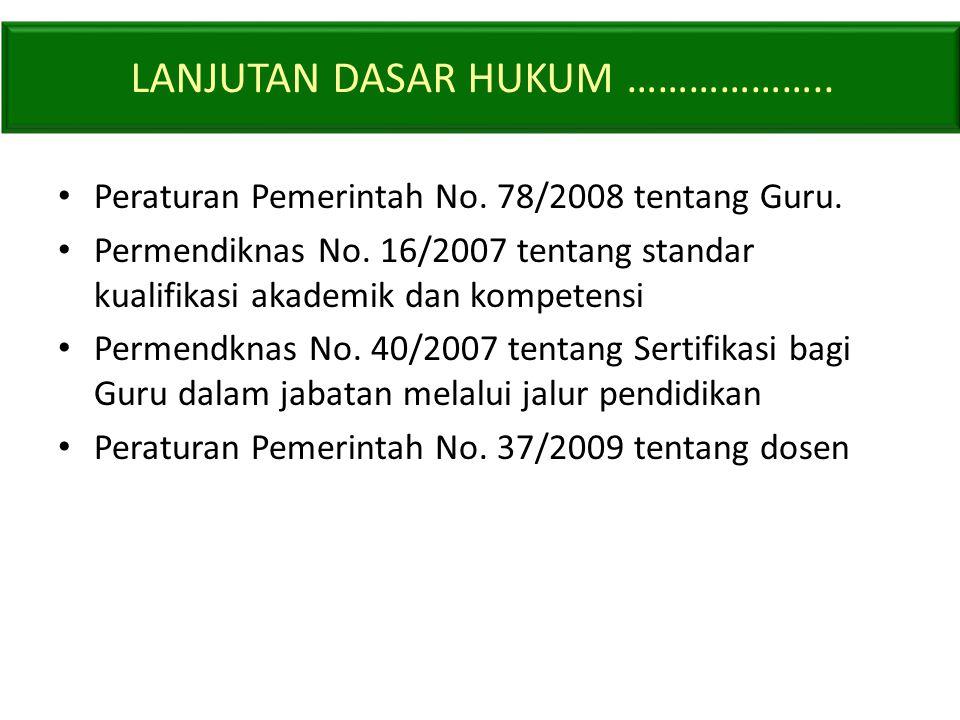 • Peraturan Pemerintah No.78/2008 tentang Guru. • Permendiknas No.