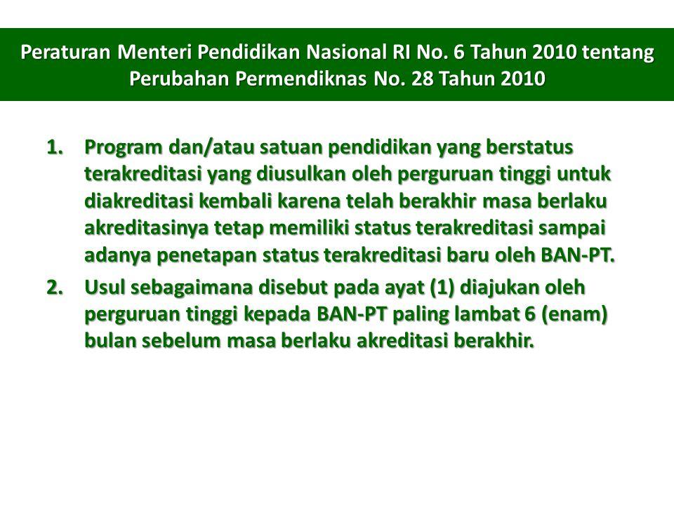 Peraturan Menteri Pendidikan Nasional RI No.6 Tahun 2010 tentang Perubahan Permendiknas No.