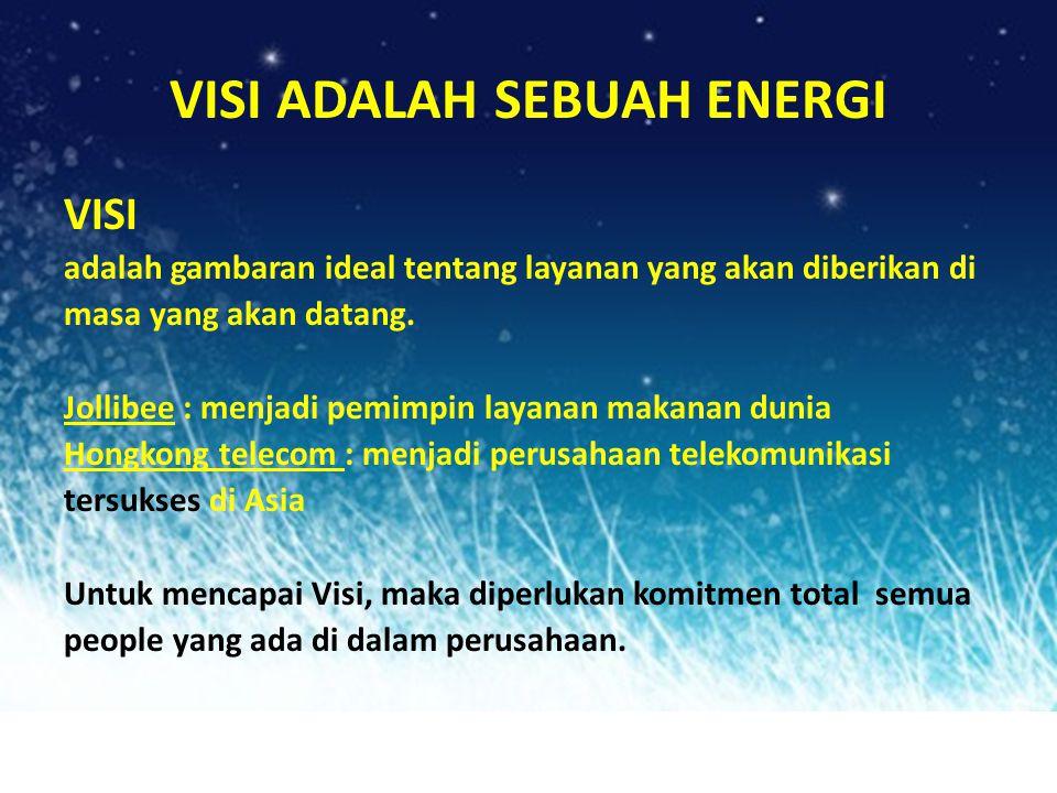 VISI ADALAH SEBUAH ENERGI VISI adalah gambaran ideal tentang layanan yang akan diberikan di masa yang akan datang. Jollibee : menjadi pemimpin layanan