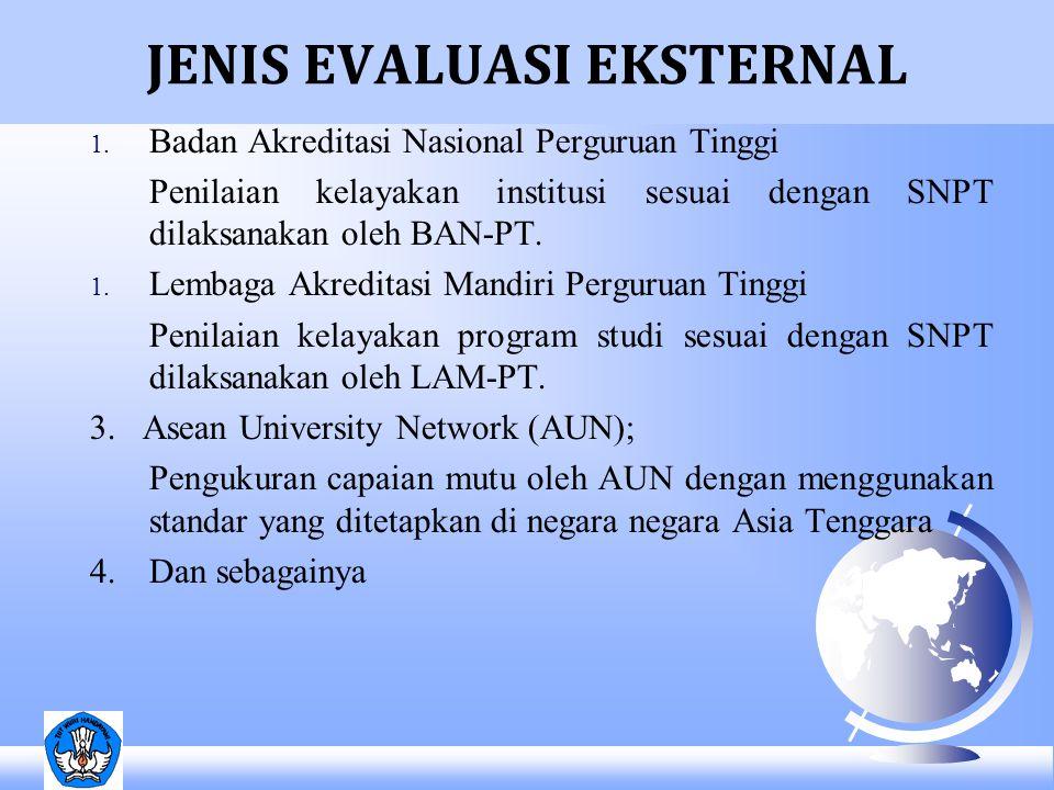 JENIS EVALUASI EKSTERNAL 1. Badan Akreditasi Nasional Perguruan Tinggi Penilaian kelayakan institusi sesuai dengan SNPT dilaksanakan oleh BAN-PT. 1. L