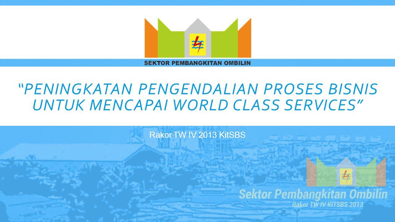 """""""PENINGKATAN PENGENDALIAN PROSES BISNIS UNTUK MENCAPAI WORLD CLASS SERVICES"""" Rakor TW IV 2013 KitSBS"""