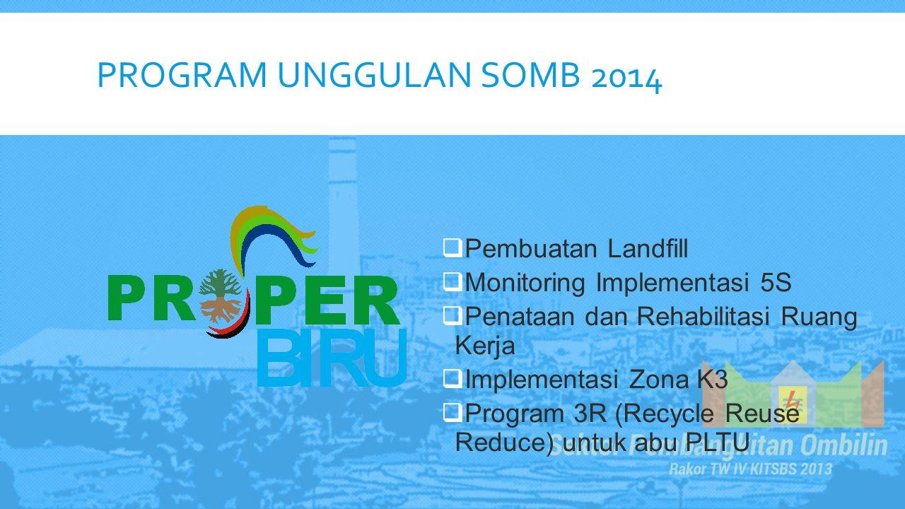 PROGRAM UNGGULAN SOMB 2014  Pembuatan Landfill  Monitoring Implementasi 5S  Penataan dan Rehabilitasi Ruang Kerja  Implementasi Zona K3  Program
