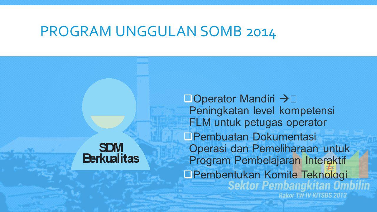 PROGRAM UNGGULAN SOMB 2014  Operator Mandiri  Peningkatan level kompetensi FLM untuk petugas operator  Pembuatan Dokumentasi Operasi dan Pemelihar