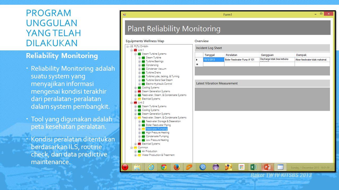 PROGRAM UNGGULAN YANG TELAH DILAKUKAN Reliability Monitoring  Reliability Monitoring adalah suatu system yang menyajikan informasi mengenai kondisi t