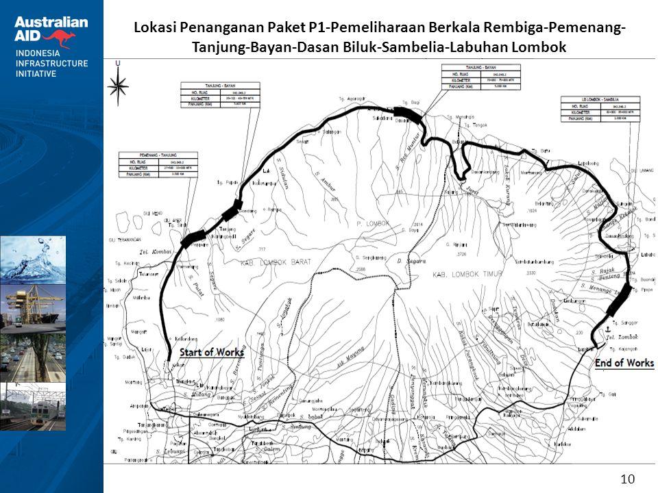 10 Lokasi Penanganan Paket P1-Pemeliharaan Berkala Rembiga-Pemenang- Tanjung-Bayan-Dasan Biluk-Sambelia-Labuhan Lombok