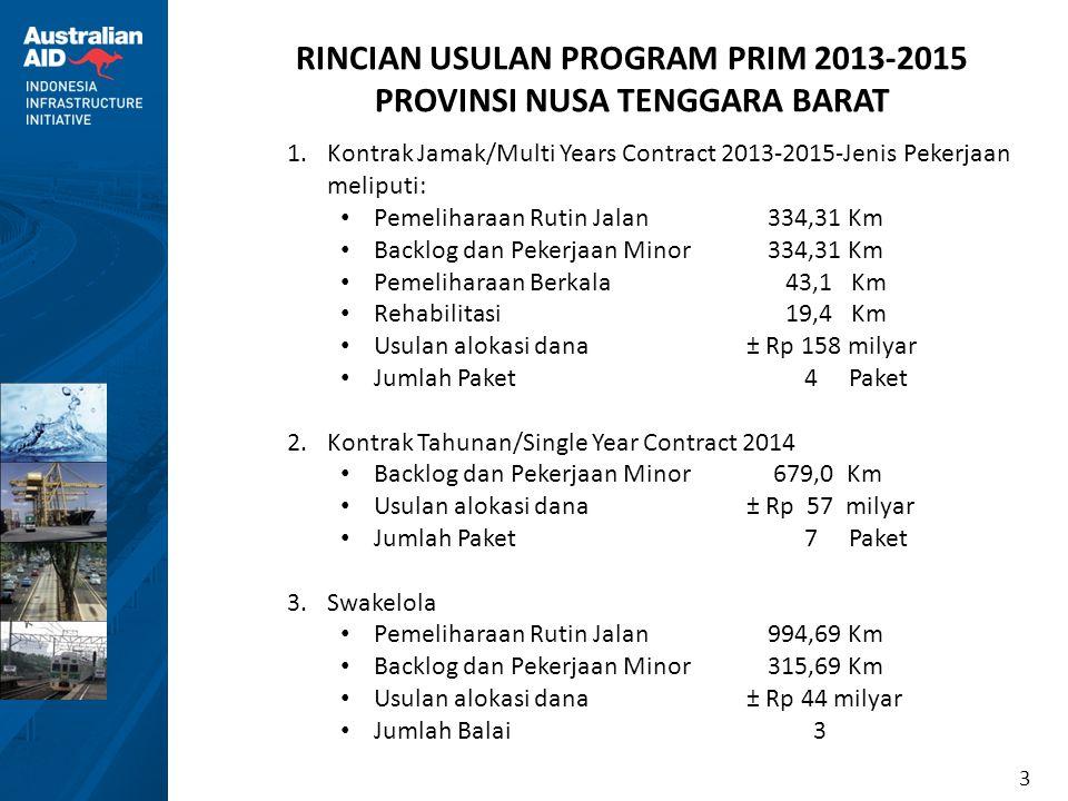 3 1.Kontrak Jamak/Multi Years Contract 2013-2015-Jenis Pekerjaan meliputi: • Pemeliharaan Rutin Jalan334,31 Km • Backlog dan Pekerjaan Minor334,31 Km