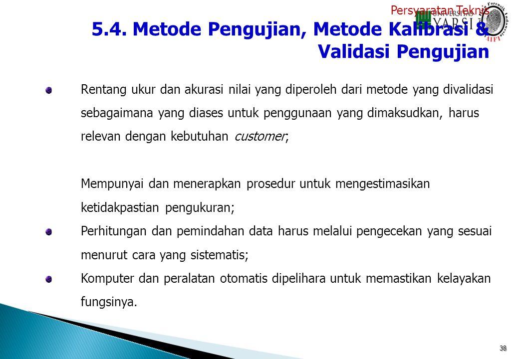 38 Rentang ukur dan akurasi nilai yang diperoleh dari metode yang divalidasi sebagaimana yang diases untuk penggunaan yang dimaksudkan, harus relevan