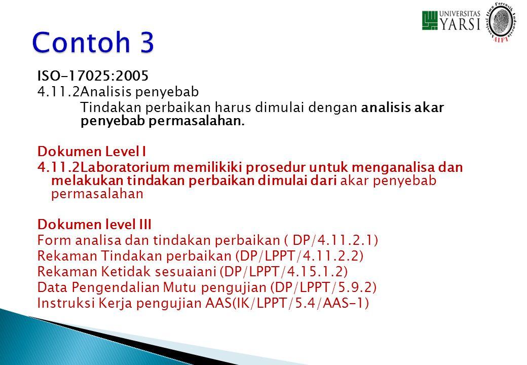ISO-17025:2005 4.11.2Analisis penyebab Tindakan perbaikan harus dimulai dengan analisis akar penyebab permasalahan. Dokumen Level I 4.11.2Laboratorium