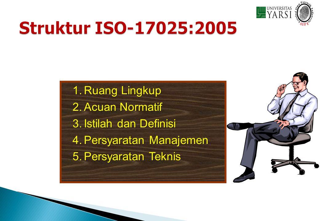 1.Ruang Lingkup 2.Acuan Normatif 3.Istilah dan Definisi 4.Persyaratan Manajemen 5.Persyaratan Teknis