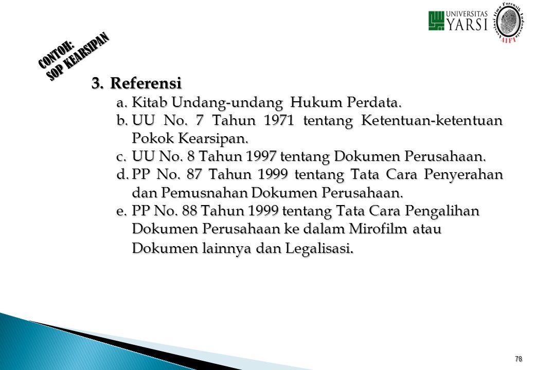 CONTOH: SOP KEARSIPAN 3. Referensi a.Kitab Undang-undang Hukum Perdata. b.UU No. 7 Tahun 1971 tentang Ketentuan-ketentuan Pokok Kearsipan. c.UU No. 8