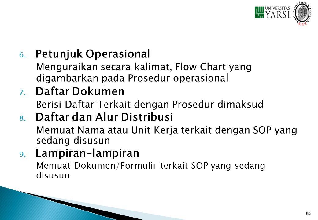 6. Petunjuk Operasional Menguraikan secara kalimat, Flow Chart yang digambarkan pada Prosedur operasiona l 7. Daftar Dokumen Berisi Daftar Terkait den