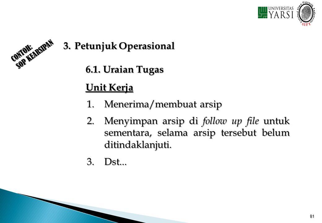 CONTOH: SOP KEARSIPAN 3. Petunjuk Operasional 6.1. Uraian Tugas Unit Kerja 1.Menerima/membuat arsip 2.Menyimpan arsip di follow up file untuk sementar