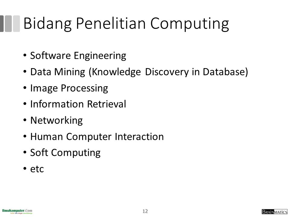 Bidang Penelitian Computing • Software Engineering • Data Mining (Knowledge Discovery in Database) • Image Processing • Information Retrieval • Networking • Human Computer Interaction • Soft Computing • etc 12
