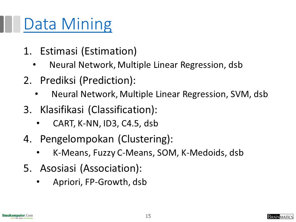 Data Mining 1.Estimasi (Estimation) • Neural Network, Multiple Linear Regression, dsb 2.Prediksi (Prediction): • Neural Network, Multiple Linear Regre