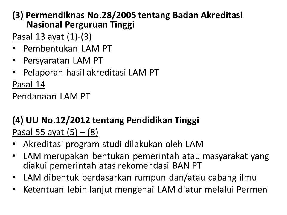 (3) Permendiknas No.28/2005 tentang Badan Akreditasi Nasional Perguruan Tinggi Pasal 13 ayat (1)-(3) • Pembentukan LAM PT • Persyaratan LAM PT • Pelap